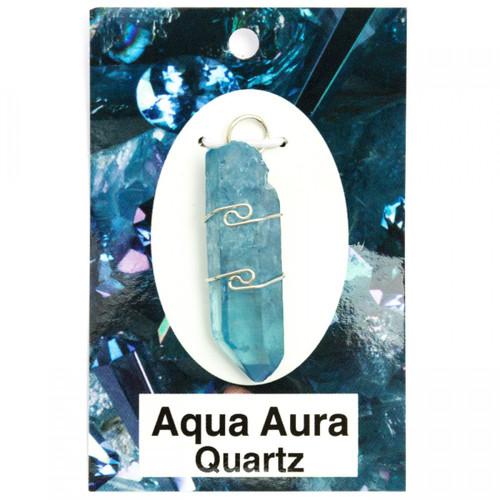 Wire Wrap Silver Pendant - Aqua Aura