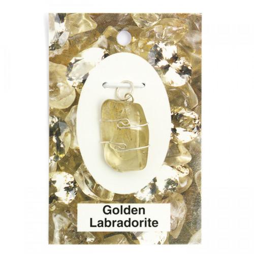 Wire Wrap Silver Pendant - Golden Labradorite