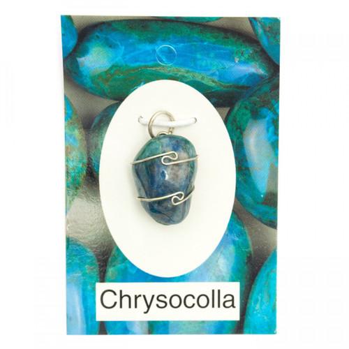Wire Wrap Silver Pendant - Chrysocolla