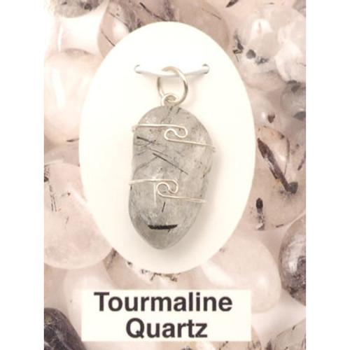 Wire Wrap Silver Pendant - Tourmaline Quartz