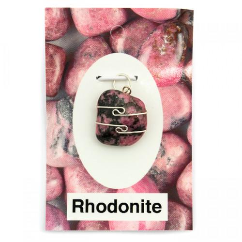 Wire Wrap Silver Pendant - Rhodonite