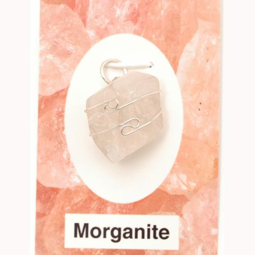 Wire Wrap Silver Pendant - Morganite