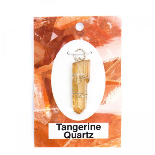 Wire Wrap Silver Pendant - Tangerine Quartz