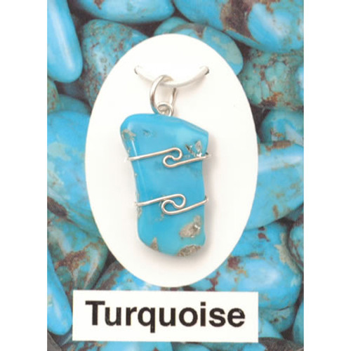 Wire Wrap Silver Pendant - Turquoise