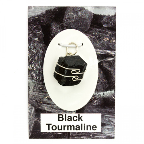 Wire Wrap Silver Pendant - Black Tourmaline