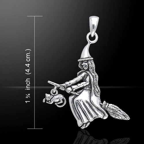 Witch & Cat on Broomstick Pendant (Sterling Silver)