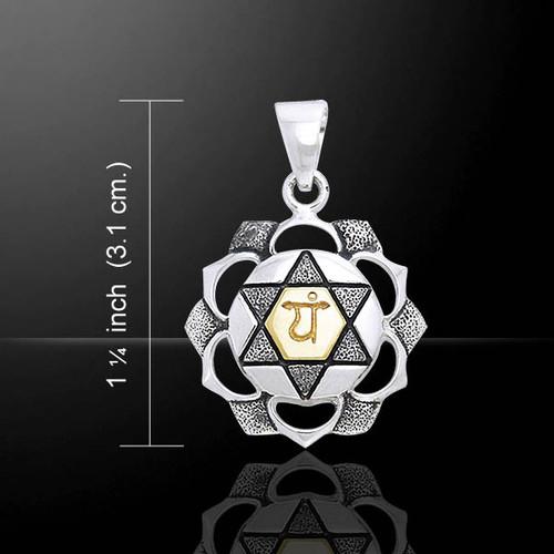 Heart Chakra Pendant (Love) - Sterling Silver & Gold