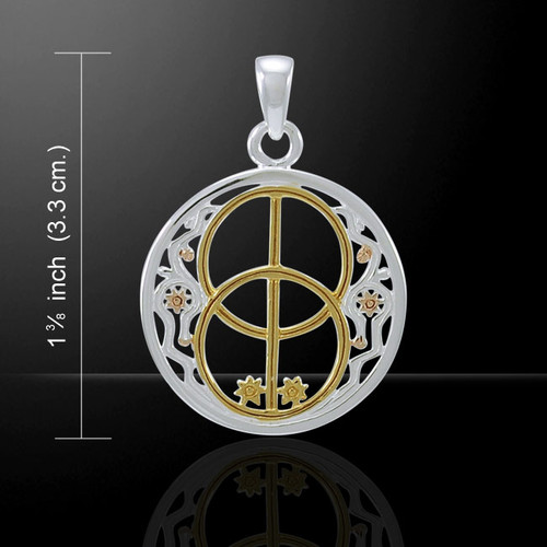 Three Tone Chalice Well Pendant (Sterling Silver with Gold)