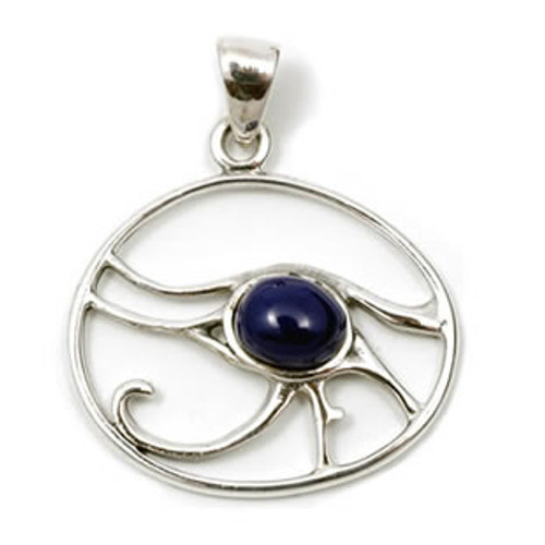 Eye of Horus Pendant with Faux Lapis Lazuli (Sterling Silver)