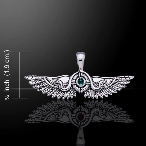 Winged Solar Disk with Blue Topaz Pendant (Sterling Silver)