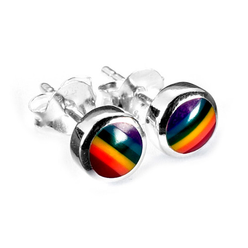 Rainbow Stud Earrings (Sterling Silver)
