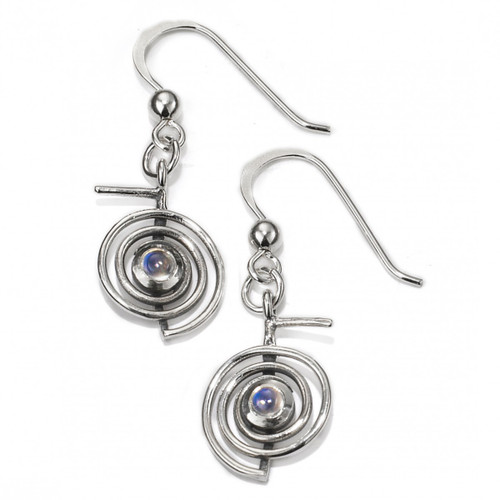 Cho Ku Rei Reiki Earrings with Moonstone (Sterling Silver)