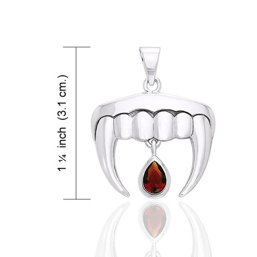 Vampire Teeth with Blood Drops Pendant (Sterling Silver)