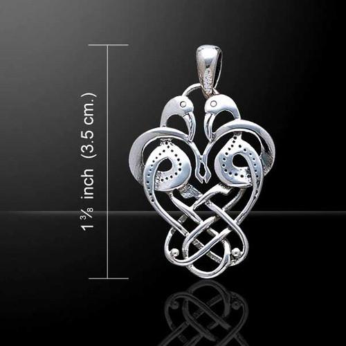 Celtic Knotwork Knots Birds Pendant (Sterling Silver)