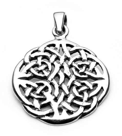 Celtic Knot Round Pendant (Sterling Silver)