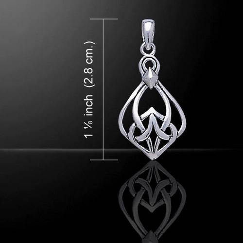 Celtic Knotwork Teardrop Pendant (Sterling Silver)