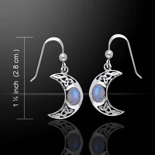 Celtic Knotwork Crescent Moon Earrings (Sterling Silver)