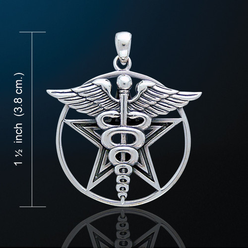Pentacle with Caduceus Pendant (Silver Plated)