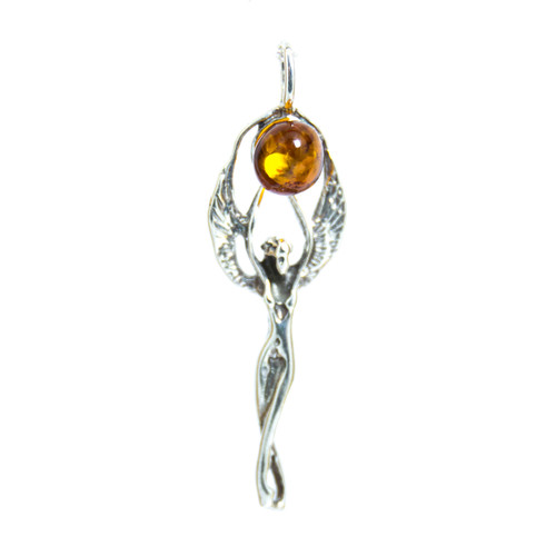 Cognac Amber - Angel Pendant