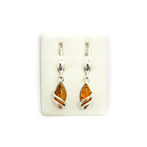 Cognac Amber - Drop Earrings (Swirl Design)