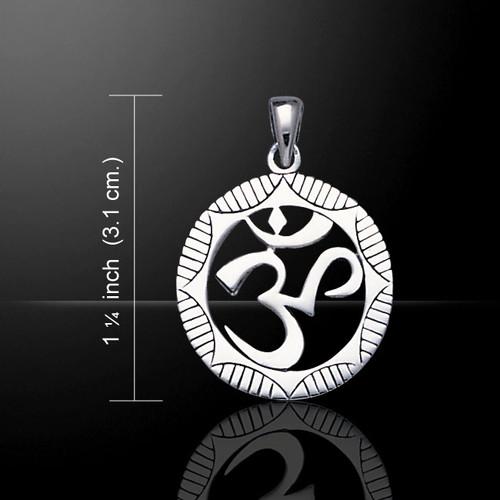 Circular Om Symbol Pendant (Sterling Silver)