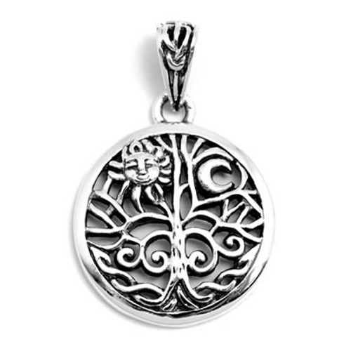 Tree of Life Pendant with Sun & Moon (Sterling Silver)