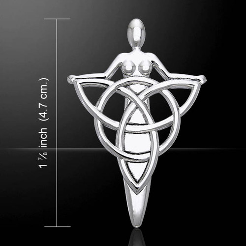 Danu Goddess Holding Triquetra Pendant (Sterling Silver)