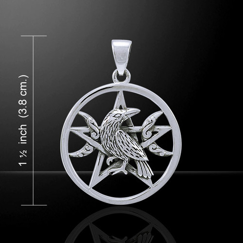 Raven Pentacle Pendant with Crescent Moon (Sterling Silver)