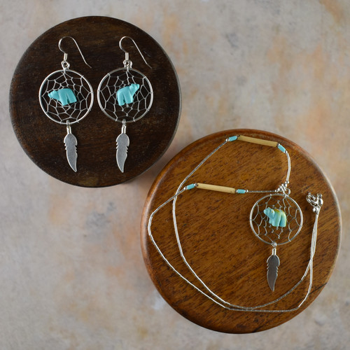 Large Dream Catcher Earrings & Necklace with Turquoise Bear & Feather (Sterling Silver)