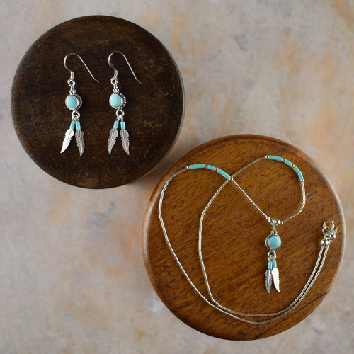 Shield Earrings & Necklace with Silver Feathers & Turquoise (Sterling Silver)