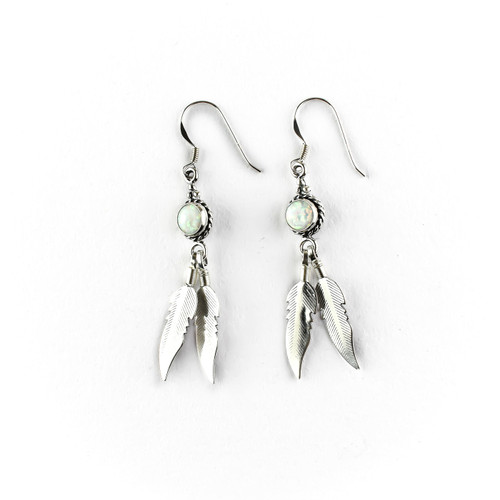 Rainbow Opal Feather Earrings & Necklace (Sterling Silver)