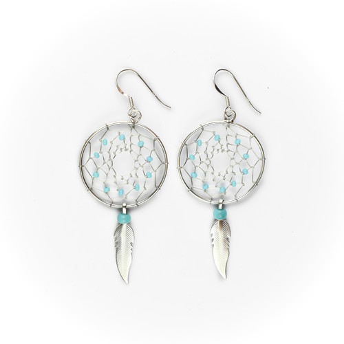 Large Dream Catcher Earrings & Necklace with Turquoise Beads & Feather (Sterling Silver)