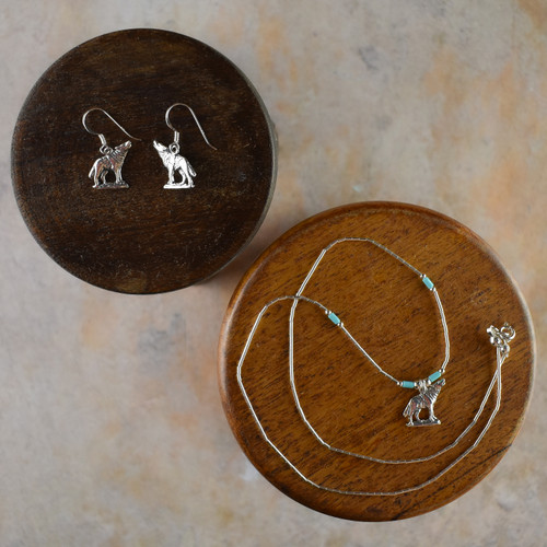 Silver Wolf Earrings & Necklace (Sterling Silver)