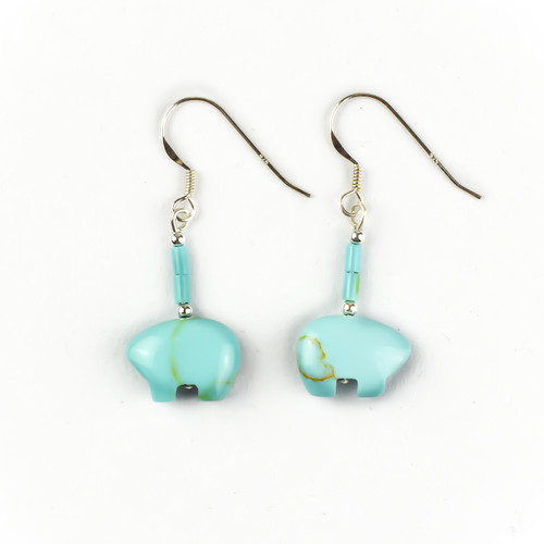 Turquoise Zuni Bear Earrings (Sterling Silver)