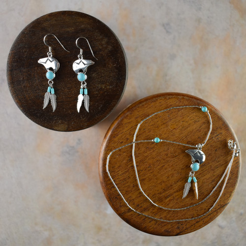 Silver Zuni Bear Earrings & Necklace with Turquoise & Feather (Sterling Silver)