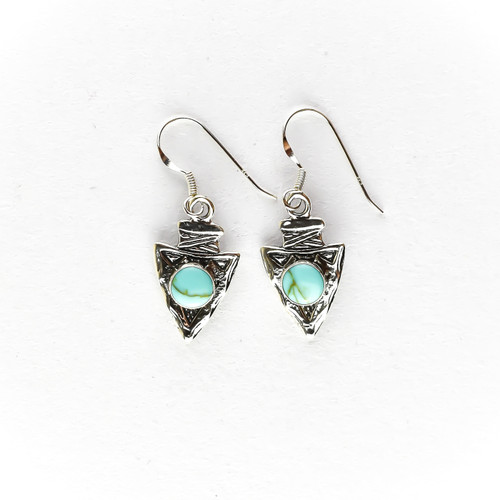 Silver Arrowhead Earrings & Necklace with Turquoise (Sterling Silver)
