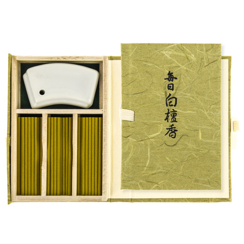 Mainichi-Koh Byakudan Incense (60 Sticks & Incense Holder)