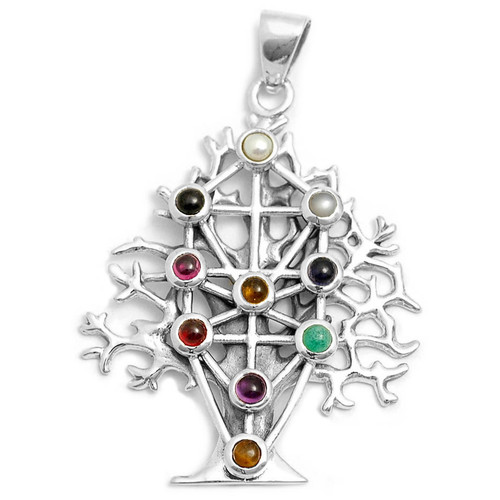 Kabbalah Tree of Life Pendant with Gems (Sterling Silver)