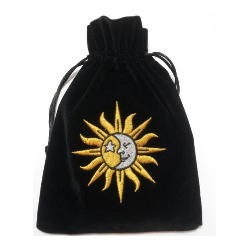 Sun & Moon Velvet Tarot / Oracle Card Bag - Black