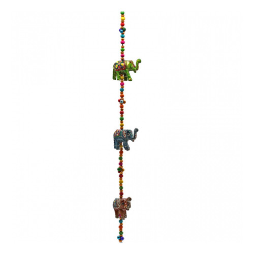 Decorative Wooden Elephants on Hanging Garland with Bell