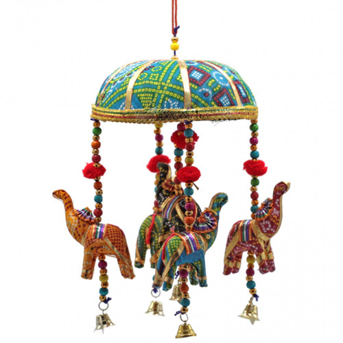 Decorative 5 Elephants Mobile with Bells