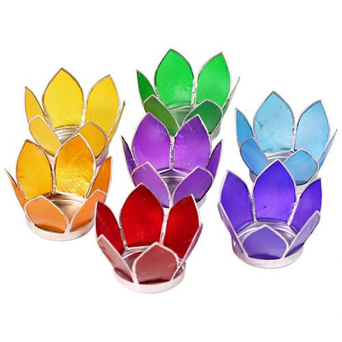 Mini Lotus Chakra Tea-Light Holders (Set of 7) - With Silver Trim