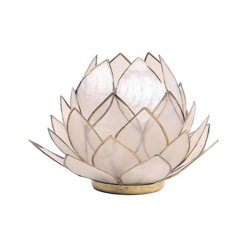 Large Lotus Tea Light Candle Holder - Natural (Gold Trim)