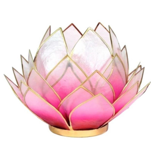 Large Lotus Tea Light Candle Holder - Light Pink (Gold Trim)