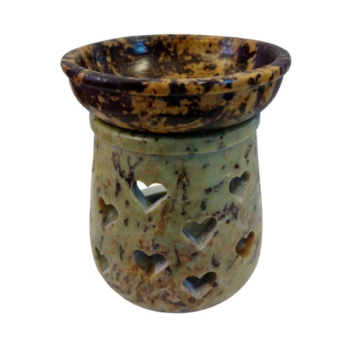 Soapstone Oil Burner with Heart Design