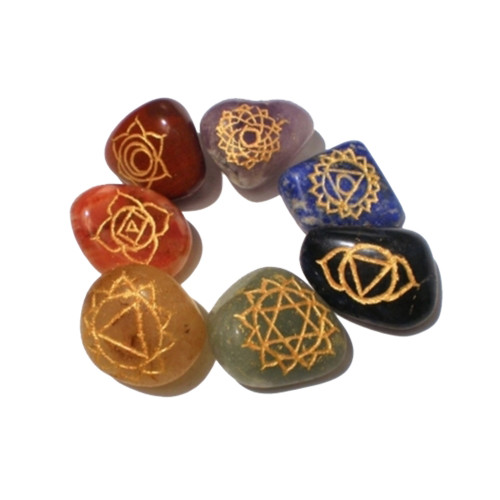 Set of 7 Engraved Chakra Tumble Stones in Velvet Bag