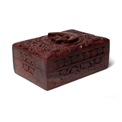 Moon & Star Wooden Engraved Tarot Box