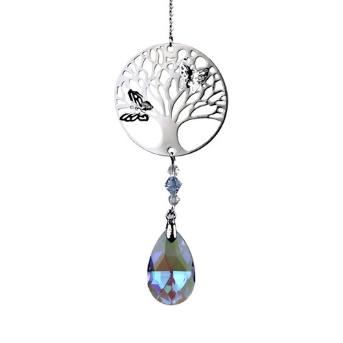 Tree of Life Butterfly Crystal Decoration - Violet Drop