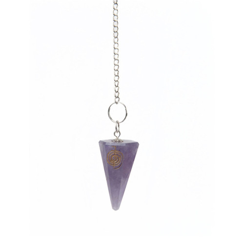 Amethyst Faceted Pendulum with Engraved Reiki Symbol