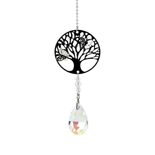 Tree of Life Butterfly Crystal Decoration - White Drop